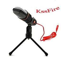 KssFire® Professional Condenser Sound Podcast Studio Microphone For PC Laptop Computer (Black)