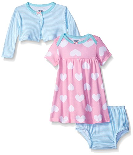 Gerber Baby Three-Piece Cardigan, Dress and Diaper Cover Set, Big Hearts, 24 Months