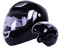 Modular Flip up Motorcycle Helmet Gloss Black DOT #936 (Large) by Ivolution Sports, Inc