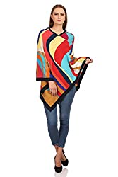 The Knit Factory Women's Acrowool Cape (8001A, Red, Yellow, Blue, Free Size)