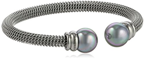 Majorica 12mm Grey Pearls on Silver Stainless Stee…