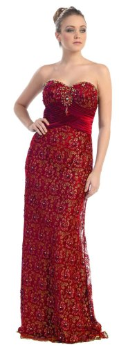 Strapless Formal Prom Dress Jr Long Evening Gown #7017 (8, Red)