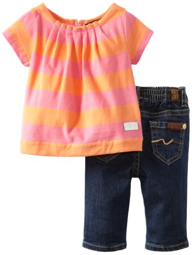 Best Seven for All Mankind Baby-girls Newborn Pleated Tunic/Jean Set, Dark Rinse, 6-9 Months  Review