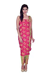 Apratim Women's Cotton Unstitched Dress Material (Pink and Green)