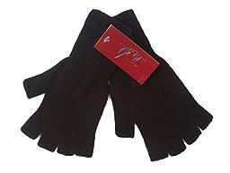 Gravity Threads Unisex Warm Half Finger Stretchy Knit Gloves - Black