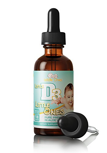 Baby Vitamin D Drops - Ideal for Infants and Babies - Naturally Derived Vitamin D3 Liquid in Pure Aloe Vera Juice with Easy to Use Dropper - USA made - BONUS eBook (118 doses)