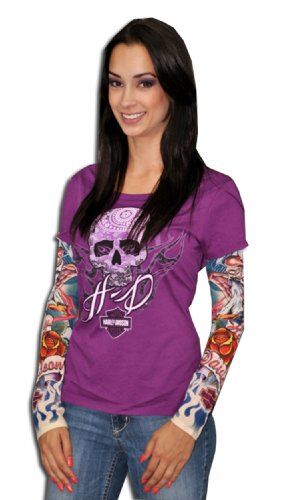 Harley-Davidson - Womens Tattooed Skull Purple Long Sleeve T-Shirt (Medium)