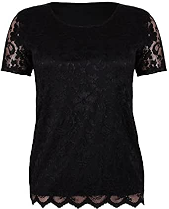 Womens Short Sleeve Ladies Stretch Round Scoop Neckline Lined Floral Lace Blouse T-Shirt Top Plus Size Black 14