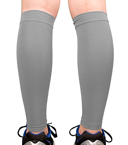 Premium Calf Compression Sleeve 1 Pair 20-30mmHg Strong Calf Support Multiple COLORS Graduated Pressure for Sports Running Muscle Recovery Shin Splints Varicose Veins Doc Miller (Gray, XX-Large) (Full Length Compression Stockings compare prices)