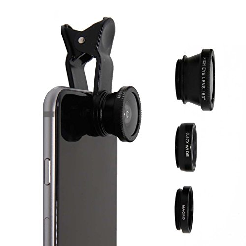 3 in 1 Phone Lens-Clip on 180° Fisheye Lens/10X Macro Lens/0.67X Wide Angle Lens;  Universal Smartphone Lens for  iPhone 6/6S, 5s, Galaxy & Most Smartphones Black-Weforever