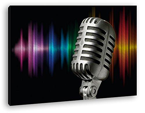 Mikrophon-mit-Farbiger-Soundspur-Effekt-Zeichnung-als-Leinwandbild-Motiv-fertig-gerahmt-auf-Echtholzrahmen-Hochwertiger-Digitaldruck-mit-Rahmen-Kein-Poster-oder-Plakat