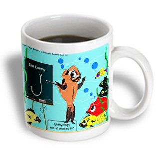 Mug_2419_2 Londons Times Fish Fishing Deep Beneath Cartoons - The Hook Is The Fish S Enemy - Mugs - 15Oz Mug