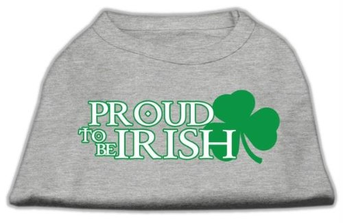 Mirage Pet Products 20-Inch Proud To Be Irish Screen Print Shirt for Pets, 3X-Large, Grey