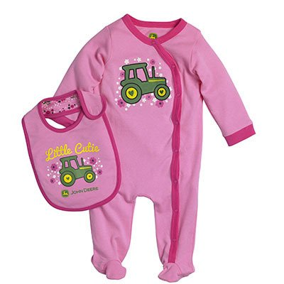 John Deere Infant Girl Coverall Tractor Set- 3-6 Months