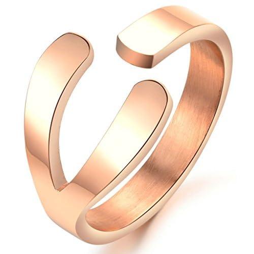 (キチシュウ)Aooazジュエリー レディースステンレスリング指輪 調整可能 幸運のシンボル ピンクゴールド 高品質のアクセサリー