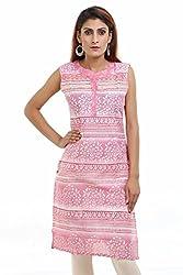 Aamii Women's Cotton Silk Kurta(Aamii723_Pink_Large)