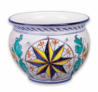 Hand Painted Large Cachepot with Compass From Italy (Italian Ceramics Cachepot compare prices)