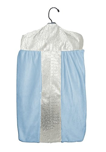 Baby Doll Croco Minky Diaper Stacker, Ivory/Blue