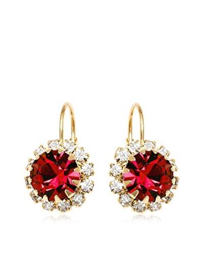 Barzel Ruby Red Flower Earrings with Swarovski Elements