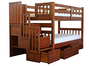 Bedz King Stairway Bunk Twin over Twin Bed with 3 Drawers in the Steps and 2 Under Bed Drawers, Expresso