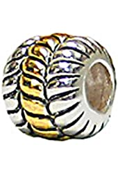 Zable Sterling Silver and Yellow Color Plated Rope Bead