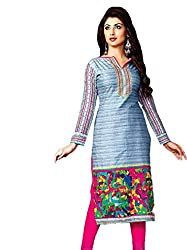 Pehnawa Women's Cotton Unsticthed Dress Material(1006FBCDA_Blue_Free Size)