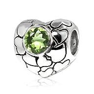 Sterling Silver Love Heart Charm Peridot Gem (August Birthstone) ,Fits Pandora Bracelets and…