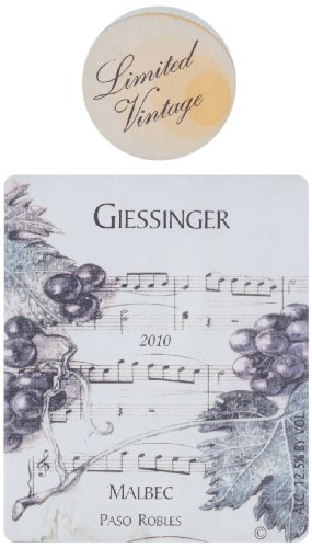 2010 Giessinger Malbec Reserve, Paso Robles 750 Ml
