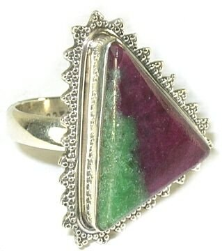 Size 7.75 Ruby Zoisite & Sterling Silver Ring