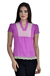 Femninora Purple Color Casual Top With lace border
