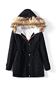 ACEVOG Women Faux Fur Hooded Winter T…