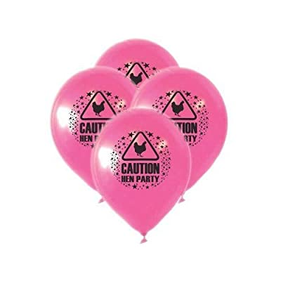 Pack of 15 Pink Party Balloons 23cm Caution Hen Party Novelty Accessories