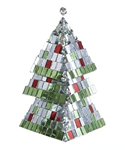 "5"" Christmas Brites Mirrored Mosaic Triangular Tiered Christmas Tree Ornament"