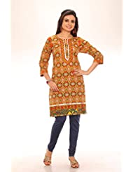 Red Chilly Women's Cotton Printed Floral Kurti-Navy Blue - B00QAI3BRU