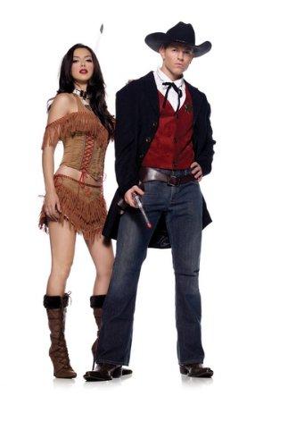 [Leg Avenue 4pc.Gun Slinger, includes jacket, vest, tie, and holster belt 83449 (BROWN,X-LARGE)] (Woman Gunslinger Costume)