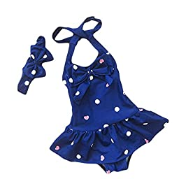 Baby Toddler One Piece Polka Dot Swimsuit Bathing Suit Swimwear 3-4Years Blue