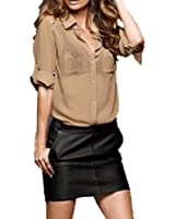 Semi Sheer Button Shirt Blouse roll up long sleeves