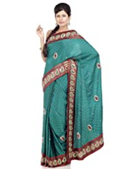 Chhabra555 Blue Satin Embroidery Saree