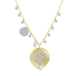 Meira T 14K Gold Pave Set Diamond Leaf Charm accented by Bezel Set Diamonds Diamond Disc and Topaz Briolette Necklace