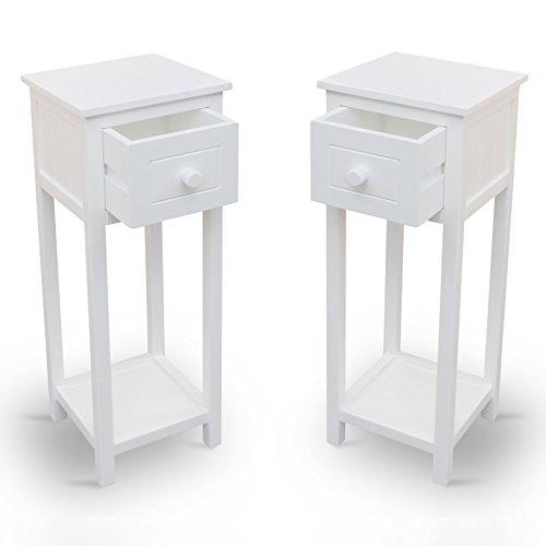 2er-Set-Telefontische-Beistelltische-Konsolentische-Nachttische-Holz-wei-Retro-Landhaus-Stil