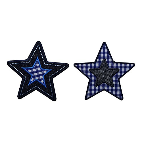 2 Patches Star Blue Karo 9X9 Cm Patch Cloth Patch Decoration Patch Patch To Iron Onto Turn Bag Flap Pennant Türschild Pillow Shirt Jeans Skirt Pants Clothes Cap Hat Jacket Scarf Neckerchief Ceiling R (Iron Stars compare prices)