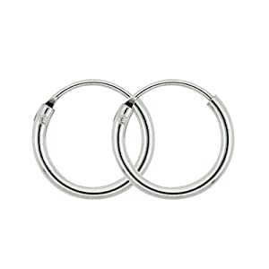 Sterling Silver Small Endless Hoop earrings for cartilage, Nose and lips, 3/8 inch Diameter 10mm