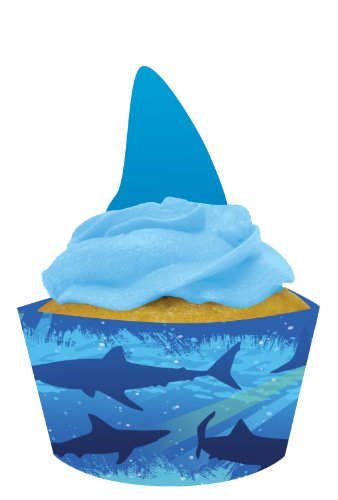 For Sale! Creative Converting Shark Splash Cupcake Pick Decorations with Matching Baking Cup Wrapper...