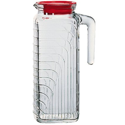 Bormioli Rocco Gelo Jug With Red Lid, 41-Ounce