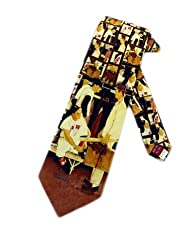 Museum Artifacts Mens Norman Rockwell Baseball Red Sox Necktie - Black - One Size Neck Tie