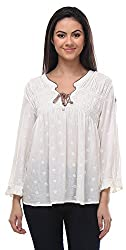 Senora Women's Regular Fit Top (Cream, Off White)