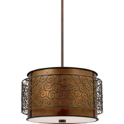 Quoizel MC843CRC Mica 3-Light Pendant from the Quoizel Naturals Collection with Mica Shade, Renaissance Copper