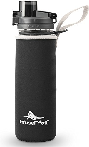 Infuser Water Bottle with No-Sweat Insulating Sleeve - 25 Oz Infusion Sport Bottle Flip-top BPA-Free Tritan - Multiple Color Options - Your Healthy Hydration Habit Made Easy! - Charcoal Black