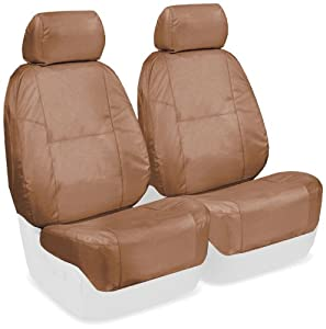 Coverking Custom Fit Front 50/50 Bucket Seat Cover for Select Ford Mustang Models - Ballistic (Tan)