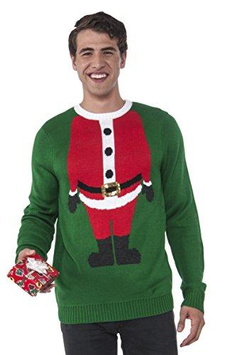 Rubie's Men's Santa Head Ugly Christmas Sweater, Multi, Small